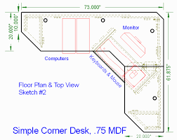Simple Corner Desk, 0.75