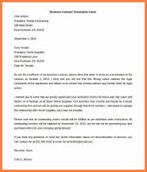 contract letter termination letter for contract notice of termination of contract