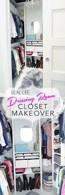 real life closet makeover create a glamorous closet dressing room from any small closet diyclosetmakeover