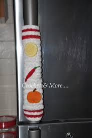 Fruit and Veggie Motif and Amigurumi..on Refrigerator handle cover