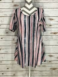 Details About Xl Lularoe Perfect T New Print Stripes Red White Navy Vintage Nwt