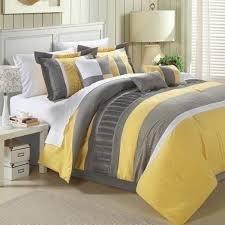 queen king bed yellow gray grey pintuck