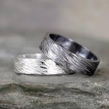 Bark Design Wedding Ring 5mm Hammered Bark Texture Wedding Band Sterling Silver