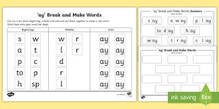 The quick and fun video will get your child acquainted with the letter and a few simple words! Ay Sound Break And Make Worksheet Teacher Made