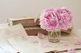old books and flowers stock image image of book peony 58447195