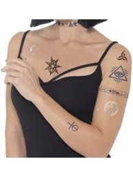 Gothic Illuminati Cult Devilish Occult Tattoo Transfers Costume Accessory
