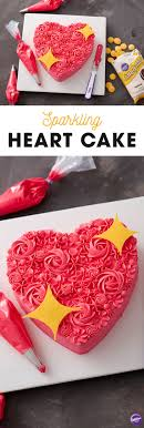 Topped with candy stars and featuring a variety of decorating techniques,  the Sparkling Heart Cake