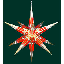Hasslauer Weihnachtsstern Für Außen Rot Mit Goldmuster