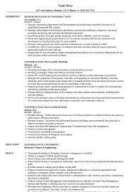 Construction Manager Senior Resume Samples Velvet Jobs