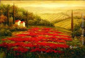 red poppies in tuscany painting 2016 red poppies in tuscany art painting