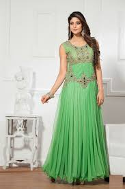 buy neon color sexy gowns online uk, neon green designer indian gown Wedding Dress Rental Online India pista green designer indian party wear gown in net e15684 Wedding Dresses for Rent
