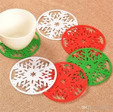 hot 10 cm round snow table mat crochet coasters z doilies cup pad props for dinning table decoration ib503 holiday decorations for