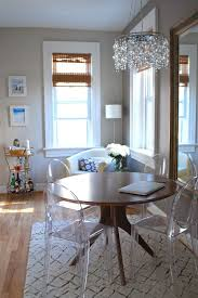 dc metro ghost chair with fabric shade dining room eclectic and bar wood table