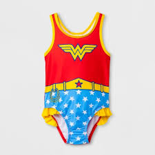 Toddler Girls' DC Comics Wonder Woman One Piece Swimsuit - Red : Target