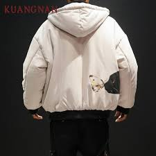 kuangnan cat print warm winter jacket men thick winter clothes hooded parka men jacket 2018 long