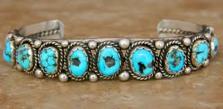 old navajo sterling silver turquoise row bracelet id 7008