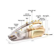 Máy Hút Bụi Kiêm Bơm Lốp Ô Tô 4 in 1, Máy Hút Bụi Bản Tiếng Anh Cao Cấp ,Máy  Hút Bụi Ô Tô Công Xuất 120W Mini, Máy Hút B