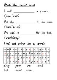 These differentiated ai worksheets and primary resources come in three versions and can be distributed according to you students' ability in english. Ai Digraph Printable Worksheet 2 Words And Pictures Literacy Builder Series