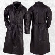 mens lined black leather on front trench over coat full length duster jacket