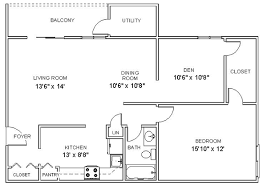 Apartment Floor Plans One Bedroom Den Apartments In Clifton