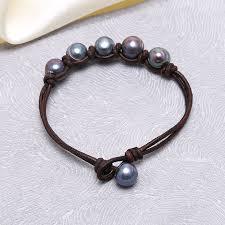 aobei pearl peacock pearl knot bracelet leather bracelet pearl and leather bracelet leather wrap bracelet ets b216