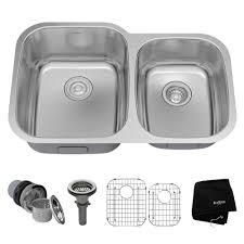 kraus undermount stainless steel 32 in double bowl kitchen sink kit