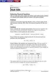 lesson print name class date skills worksheet math skills balancing chemical equations after you study each sample problem and solution