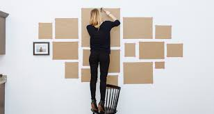 brown paper gallery wall
