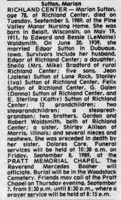 Obituary for Marian Sutton, 1911-1989 (Aged 78) - Newspapers.com