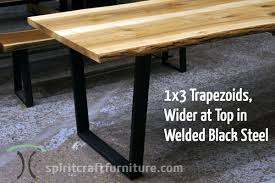 custom made 1 x 3 steel tzoid legs painted black on live edge ash table