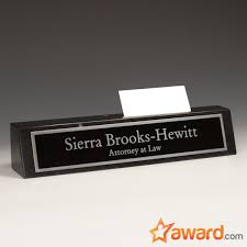 custom marble name plate with card holder personalized nameplate desk sign with business