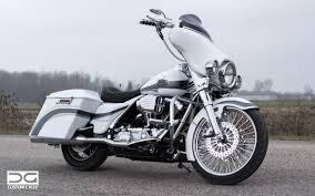 flat white harley bagger dg custom cycle