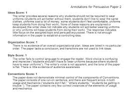 persuasive writing topic writing situation many public school  annotations for persuasive paper 2 ideas score 1 the writer provides several reasons why students