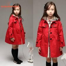 girls trench coat kids winter jacket windbreaker outerwear red