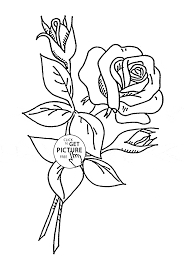 Rose With Buds Coloring Page For Kids Flower Coloring Pages
