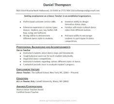 Teacher Resume Sample Awesome Dance Teachers Resume Examples