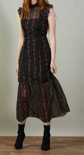 Hope & Ivy Black Midi Pencil Dress With Trims – Reina