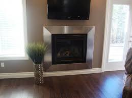 stainless steel fireplace surround contemporary living room