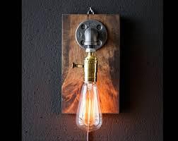 plug in industrial lighting. Plug In Wall Sconce Lamp-Rustic Decor-Sconce Lamp-Industrial Lighting -Steampunk Industrial N
