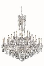 elegant lighting 9232g48pw rc rosalia 32 light large crystal chandelier in pewter with royal cut crystal clear