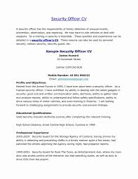 Sample Resume For Security Guard Sample Resume For Security Officer Supervisor New Sample Security