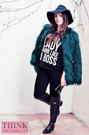 and lisa tufano modeling furry green jacket from bershka over the knee leather boots and
