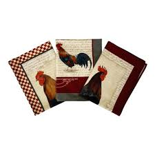 rooster dish towels kitchen dish towels set of 3 cotton french design roosters made in previous