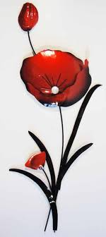 on red poppy metal wall art with metal wall art red poppy flower bunch