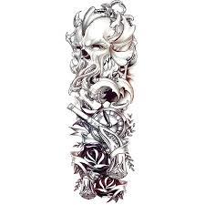 Amazoncom Black Sketch Dragon Temporary Tattoo Sticker Men Full