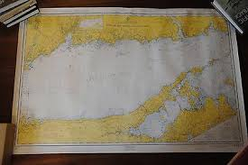 Historical Nautical Charts For Sale Vintage 1965 Nautical Chart Eastern Long Island Sound
