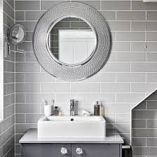 modern bathroom mirrors. modern grey bathroom with round mirrors | decorating ideal home housetohome.co o
