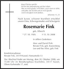 Traueranzeigen von Rosemarie Fink | Trauer.HNA.de