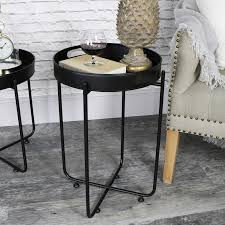 tall round black butlers serving tray table melody maison