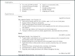 Nanny Resume Sample Beauteous Sample Resume For Nanny Childcare Cover Letter Example Best Nanny